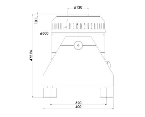 Габаритные размеры TV 5220-120 вид сбоку