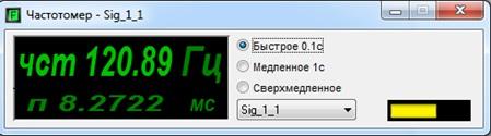 Окно программы «Частотомер»