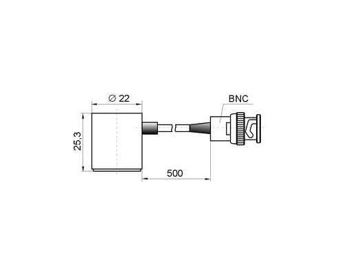 Acoustic emission transducer GT205 - dimensions