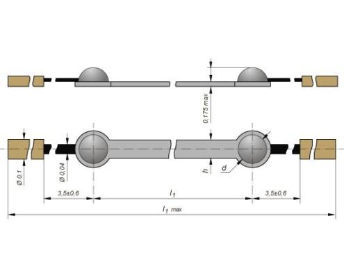 Габариты тензорезистора КТЭ2Б
