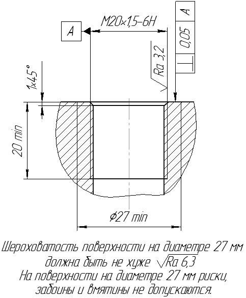 Разметка посадочного места для врезных гидрофонов