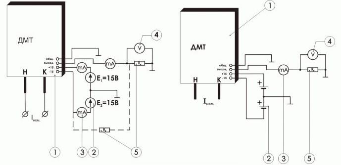 Схема включения измерительного преобразователя малых токов ПИТ-___-УА-П