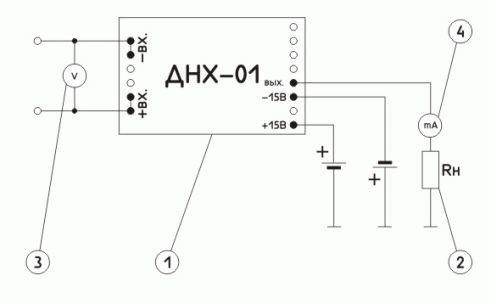 Схема включения измерительного преобразователя постоянного и переменного напряжения ПИН-УА-Д