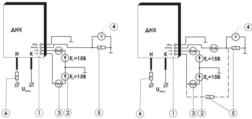 Схема включения измерительного преобразователя постоянного и переменного напряжения ПИН-___-УА-П