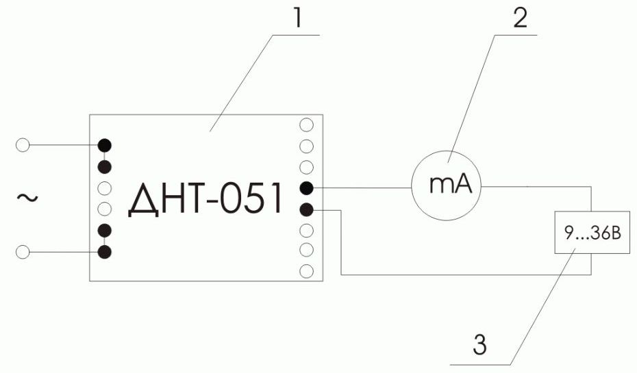 Схема включения измерительного преобразователя переменного напряжения ПИН-___-Т-4/20-Д