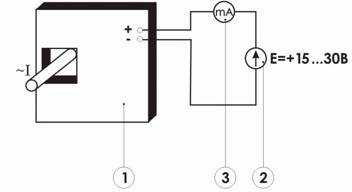 Схема включения измерительного преобразователя переменного тока ПИТ-___-ТР-4/20-Б20х20