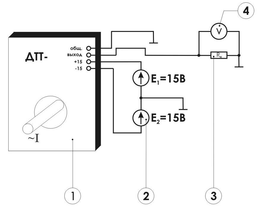 Схема включения измерительного преобразователя переменных токов ПИТ-___-Т-П10
