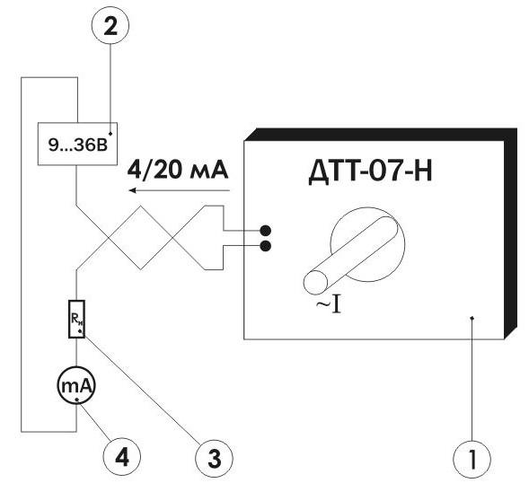 Схема включения измерительного преобразователя переменного тока ПИТ-___-Т-4/20-Б30