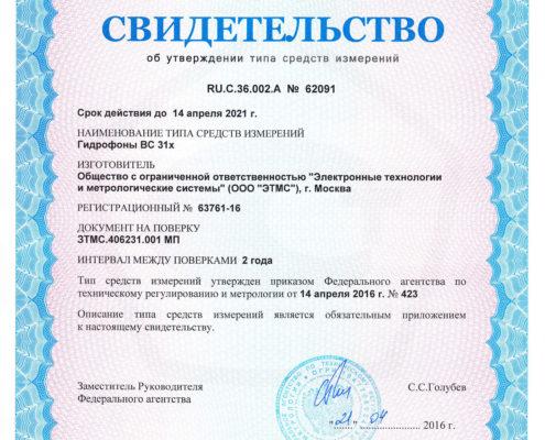 Свидетельство об утверждении типа гидрофонов ВС 31Х
