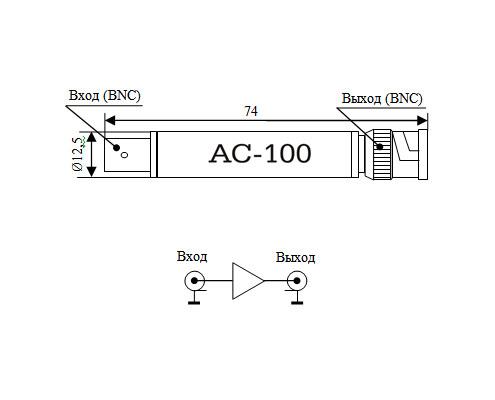 Габариты и электрическая схема АС-100