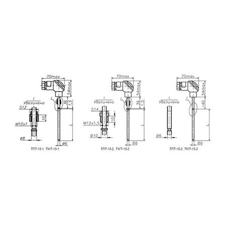 Термометры ТПТ-15, ТМТ-15 для измерения температуры жидких, газообразных, твердых и сыпучих сред.