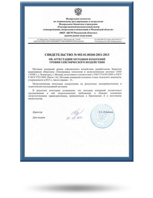 Свидетельство об аттестации методики измерения СКСВ