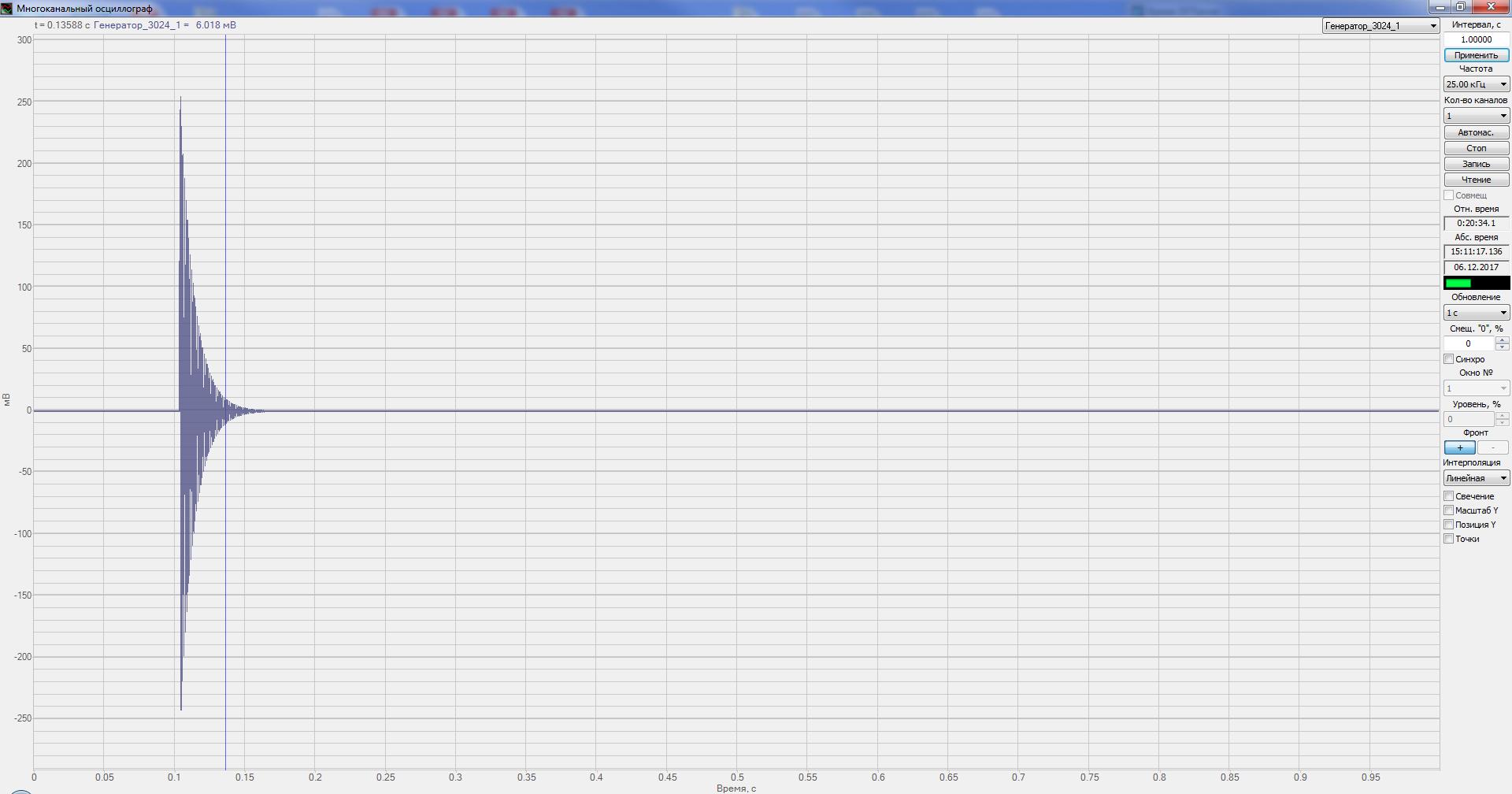 Многоканальный осциллограф - воспроизведение записанного сигнала