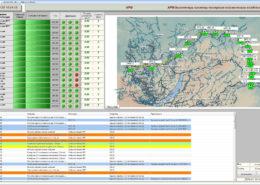 СКСВ - информация на мониторе АРМ об активности (зеленая световая индикация) сейсмических станций