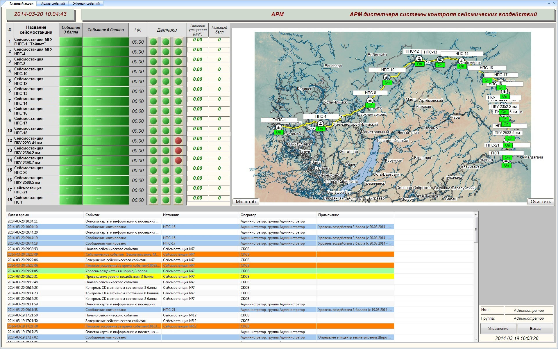 Seismic impact control system - information for the operator of the system - green color indicates the locations of the seismic stations