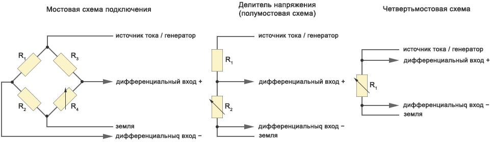 Схемы подключения пассивных датчиков к усилителю