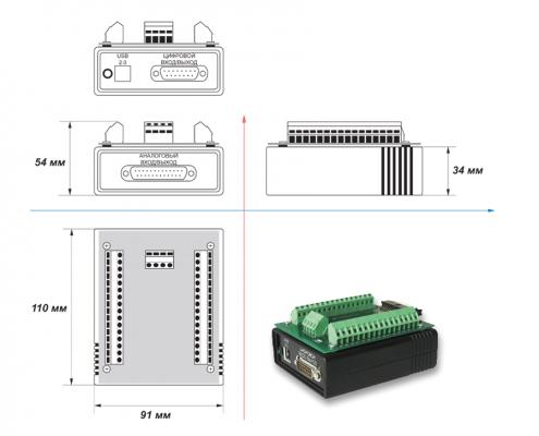 ZET 210 ADC DAC module - dimensions