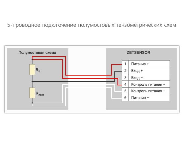 5-проводная схема подключения тензорезисторов к измерительному модулю ZET 7010 Tensometer-485