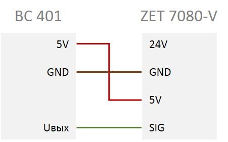Схема подключения ВС 401 к ZET 7080-V