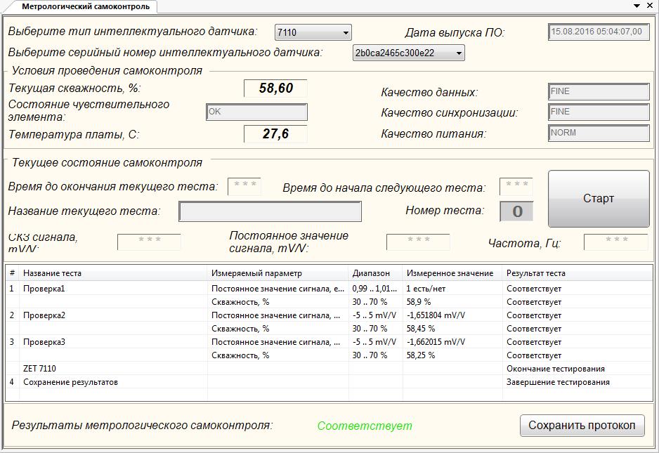 Метрологический самоконтроль ZET 7110