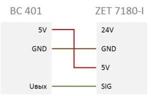 Схема подключения ВС 401 к ZET 7180-I