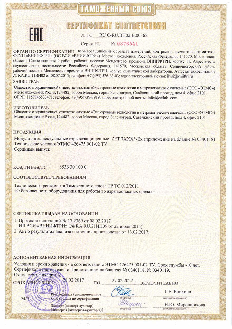 Сертификат соответствия взрывозащищённых средств измерений ZET 7XXX