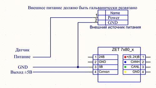Схема подключения датчика с выходом ±5В к модулям ZET 7x80-V