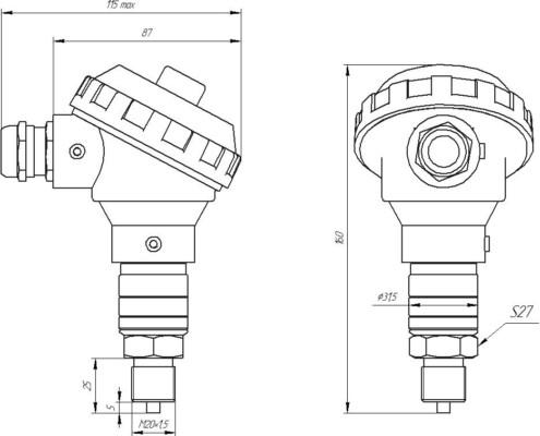 ZET 7012-A-VER.1 digital pressure meter - dimensions