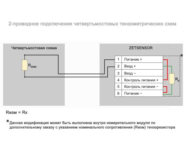 2-проводное подключение четвертьмостовых тензометрических схем