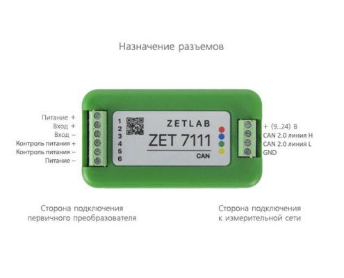 Назначение разъемов измерительного модуля ZET 7111