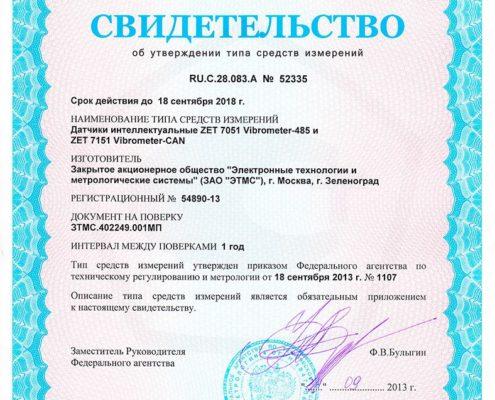 Свидетельство об утверждении типа СИ 52335