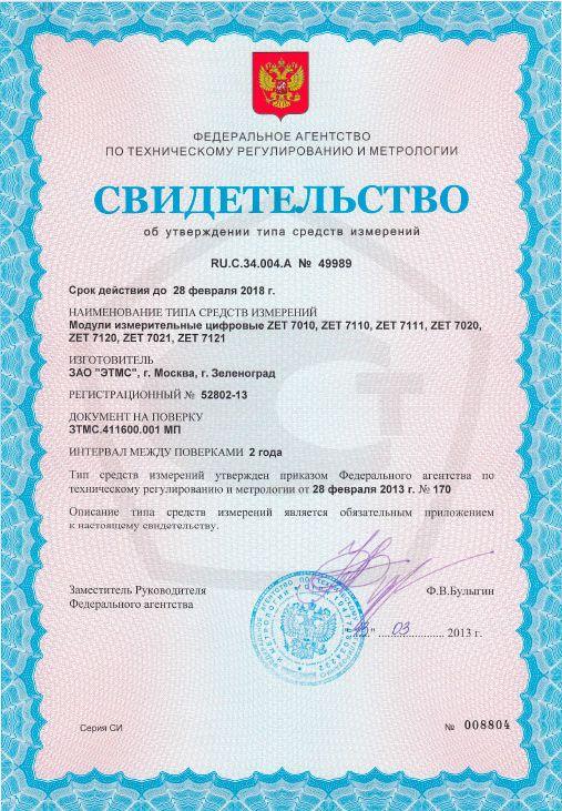 Свидетельство об утверждении типа СИ 52802-13
