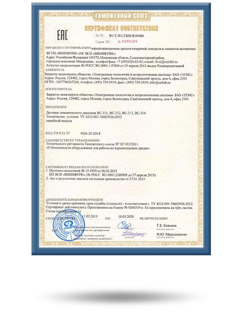Сертификат соответствия датчиков динамического давления ВС311, ВС312, ВС313, ВС314 Техническому регламенту 012/2011 Таможенного союза