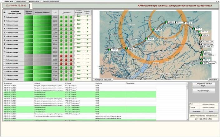 Вид главного экрана АРМ, регистрация сейсмического события двумя сейсмостанциями, Объединенная сеть сейсмостанций