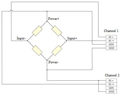 Bridge circuit - 6-wire connection to strain gauge module