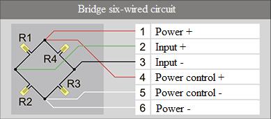 Bridge six-wired circuit