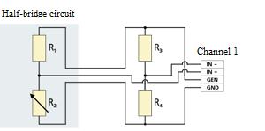 Connection of half-bridge circuit to a strain gauge station