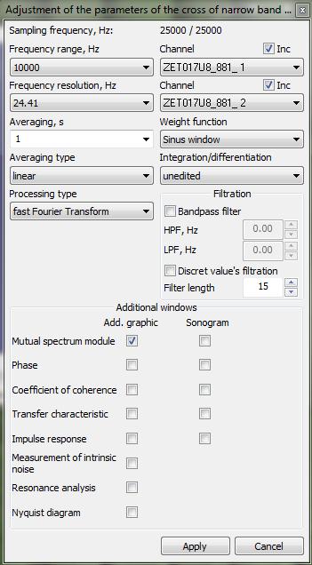 Cross narrowband spectrum program - parameters configuration window