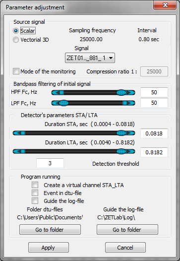 Detector STA LTA - Parameters adjustment window
