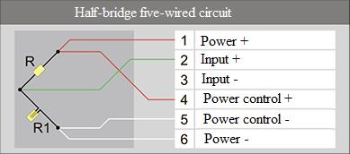 Half-bridge five-wired circuit