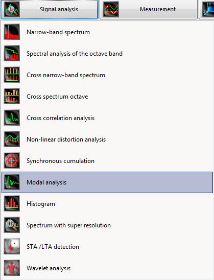 Modal analysis program in the Menu Signal analysis