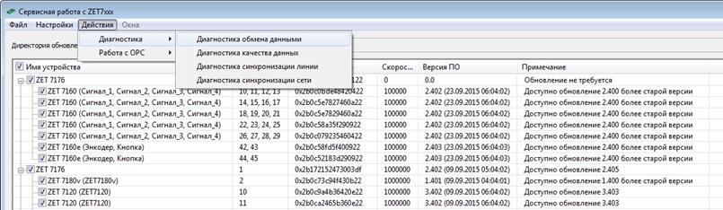 Диагностика обмена данными