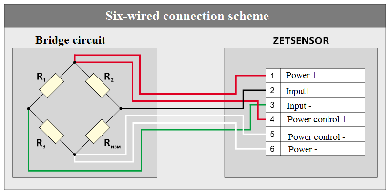 Six-wired connection scheme