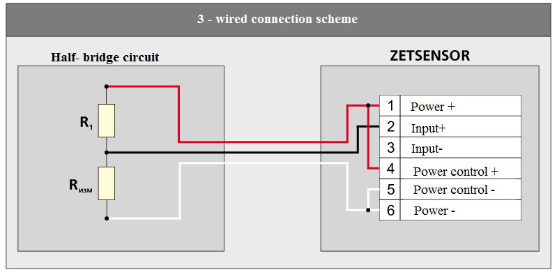 Three-wired connection scheme