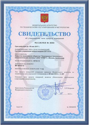 Свидетельство об утверждении типа на СУВ ZET 017-U