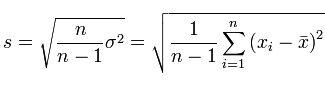 Среднеквадратичное отклонение - формула 2