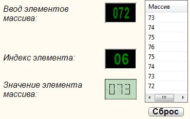 Значение элемента (числовой) - Результат работы проекта