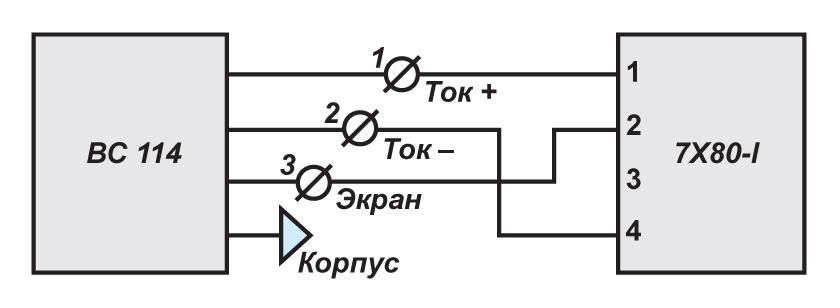 Схема подключения велосиметров ВС 114 к цифровым модулям ZET 7X80-I