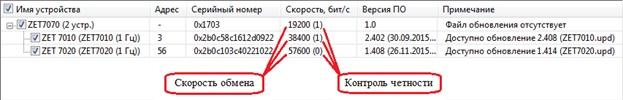 Результат работы опции «Поиск устройств с перебором скоростей и контролей четности»