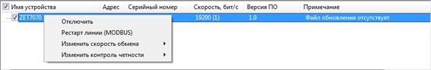 Контекстное меню преобразователя интерфейса ZET 7070